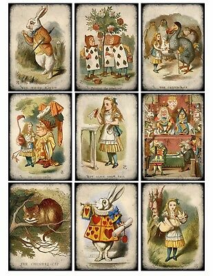 9 Alice in Wonderland Vintage Hang Tags ATC Scrapbooking (381) ()