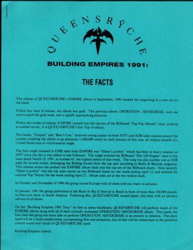 VINTAGE ORIGINAL 1991 Queensryche Building Empires Promo Release Info 3 Pages