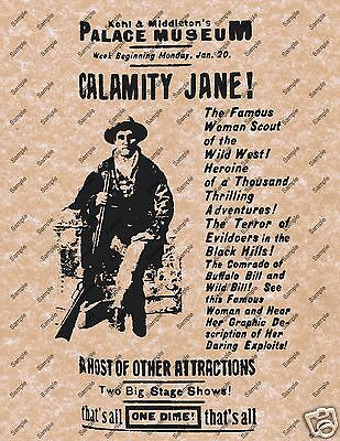 CALAMITY JANE OLD WILD WEST POSTER WESTERN BAR MUSEUM SALOON DECOR PICTURE 002 (Old Western Saloon Decor)