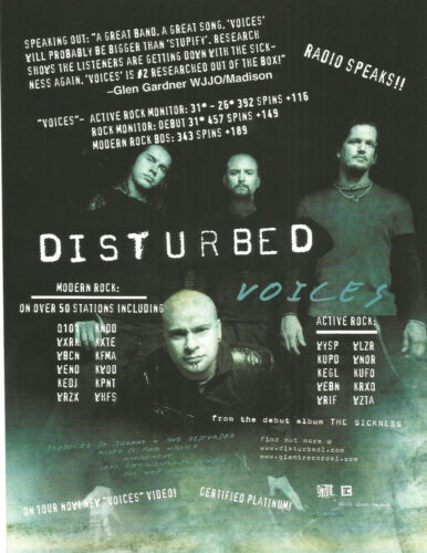 DISTURBED Rare 2000 Voices PROMO TRADE AD Poster for Sickness CD MINT USA