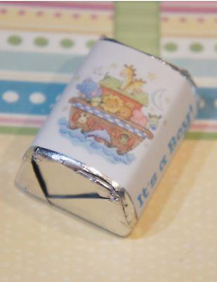 30 Baby Shower Its A Boy Noahs Ark Hershey Candy Nugget Wrappers Stickers  - Noahs Ark Baby Shower