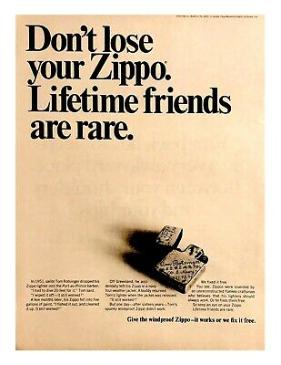 1968 Zippo Lighter Vintage Print Ad Don't Lose Lifetime Friends Are Rare