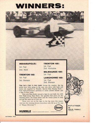 1964 A.J. FOYT @ INDIANAPOLIS 500 ~ ORIGINAL HUMBLE OIL AD