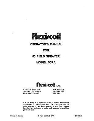 Flexi Coil S65.a 65 Field Sprayer Operators Operation Maintenance Manual