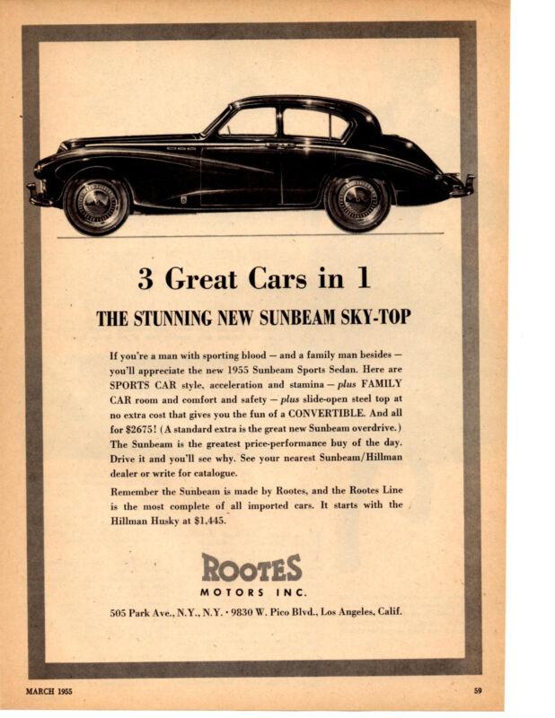 1955 SUNBEAM SKY-TOP  ~  RARE ORIGINAL PRINT AD