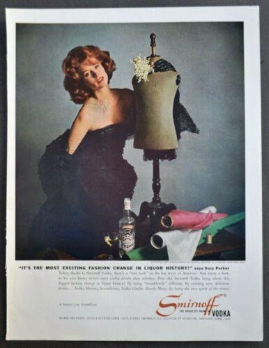 1961 Smirnoff Vodka Ad Glamorous Suzy Parker Wears Original Creation by Dior