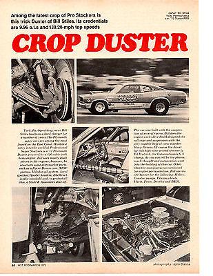 1971 PLYMOUTH HEMI DUSTER PRO STOCK /  BILL STILES  ~  ORIGINAL ARTICLE / AD