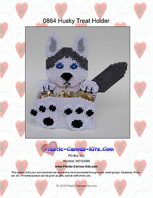 Husky Dog Treats - Husky Dog Treat Holder- Plastic Canvas Pattern or Kit