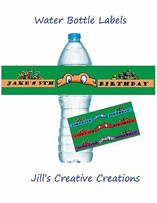 Teenage Mutant Ninja Turtle Water Bottle Labels, TMNT, Birthday, Invitations](Ninja Turtle Invitations)