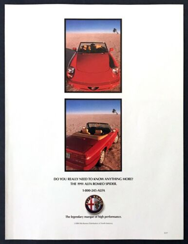 """1991 Alfa Romeo Spider Convertible photo """"Need to Know Any More?"""" promo print ad"""