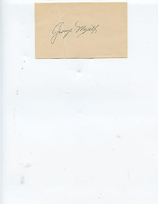 Deceased Giants And Senators Infielder  George Myatt  Signed Index Card