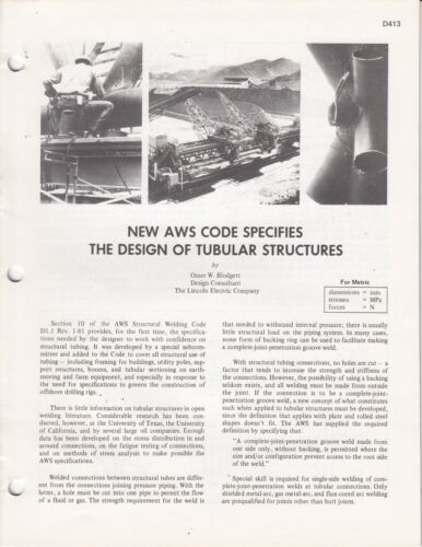 1982 Lincoln Electric AWS Code  Tubular  Welding Guide Brochure 16 pages / q3