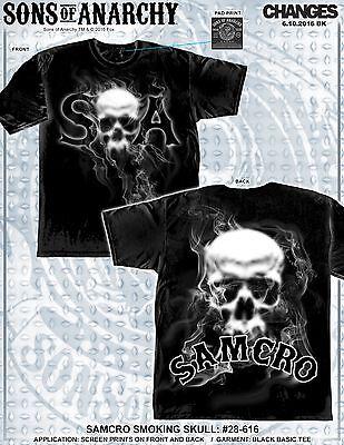 Sons Of Anarchy Soa Samcro Smoking Skull Biker Tv Jax Reaper Mens Shirt 28 616