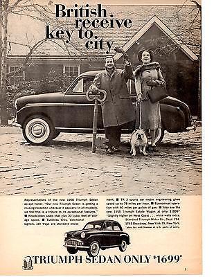 1958 TRIUMPH SEDAN  ~  NICE ORIGINAL PRINT AD