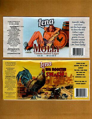 Set Of 5 Rare Micro Beer Labels  Lena  Lena  Il !!!