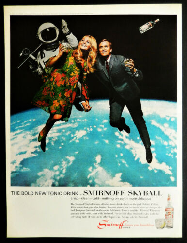 Vtg 1967 Smirnoff Vodka Skyball drink space couple advertisement print ad art