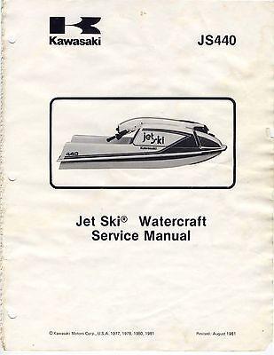 Kawasaki jet ski service manual 1977, 1978, 1979, 1980 & 1981 JS440 Jet Ski