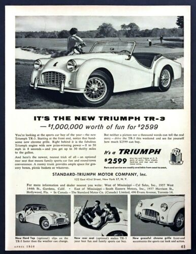 "1956 Triumph TR-3 Convertible 4 photo ""The Buy of the Year"" vintage print ad"