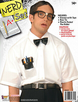 Nerd Kit Glasses with Tape Bow Tie and Plastic Pocket Protector - Nerd With Pocket Protector