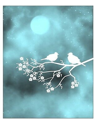 Teal White Wall Art Photo Print Moon Birds Branch Tree Home Decor Picture Matted