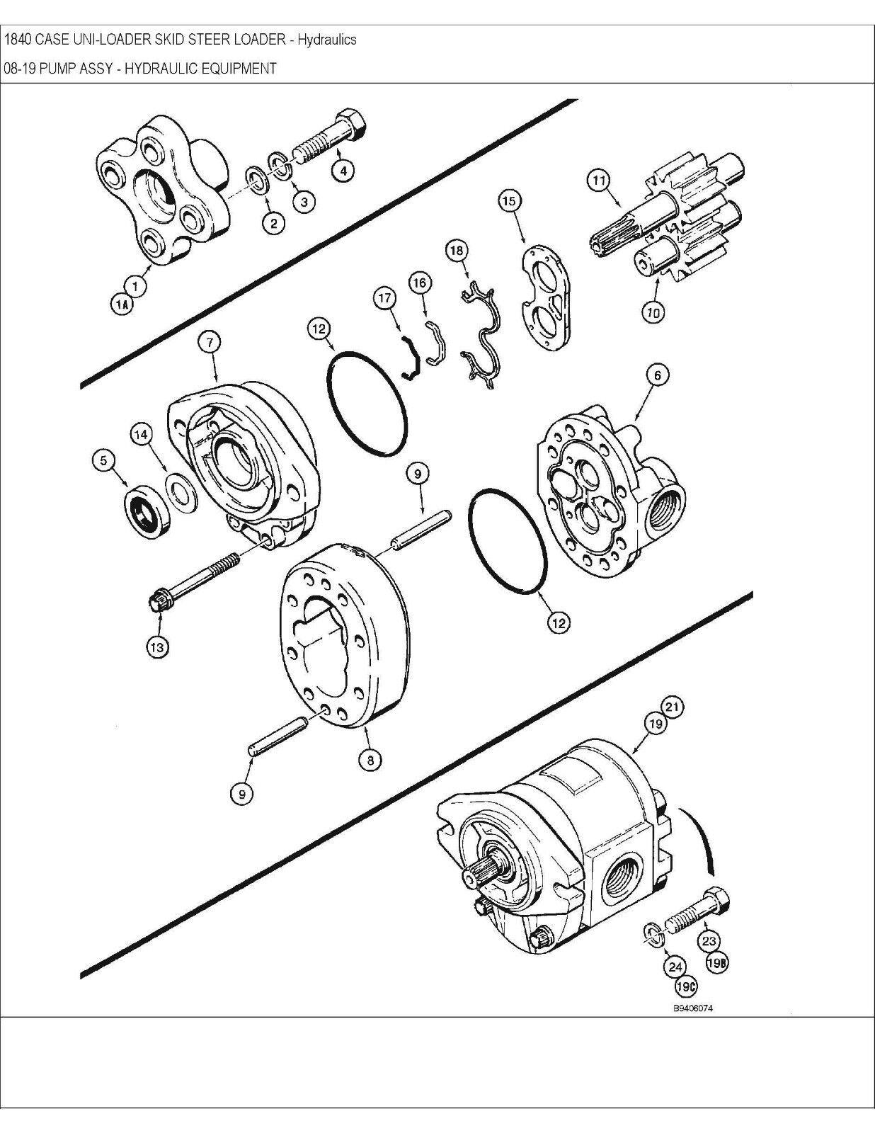 Case 1840 Skid Steer Hydraulic Schematic Library Of Wiring Diagrams 85xt Diagram Loader Service Repair Manual Parts Catalog Rh Picclick Com