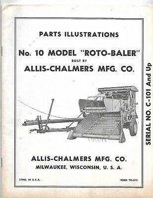 Allis-chalmers No. 10 Model Roto-baler Parts Illustrations Manual