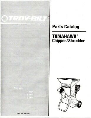 1992 Troy-bilt Chipper Shredder 47255 Parts Catalog On Cd