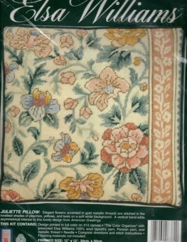 Elsa Williams JULIETTE PILLOW needlepoint kit - Floral, American Greetings -New