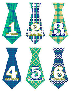 Baby-Boy-Monthly-Stickers-TIES-NEW-12-Just-Born-Blue-Green-Plaid-Stripe-UNCUT