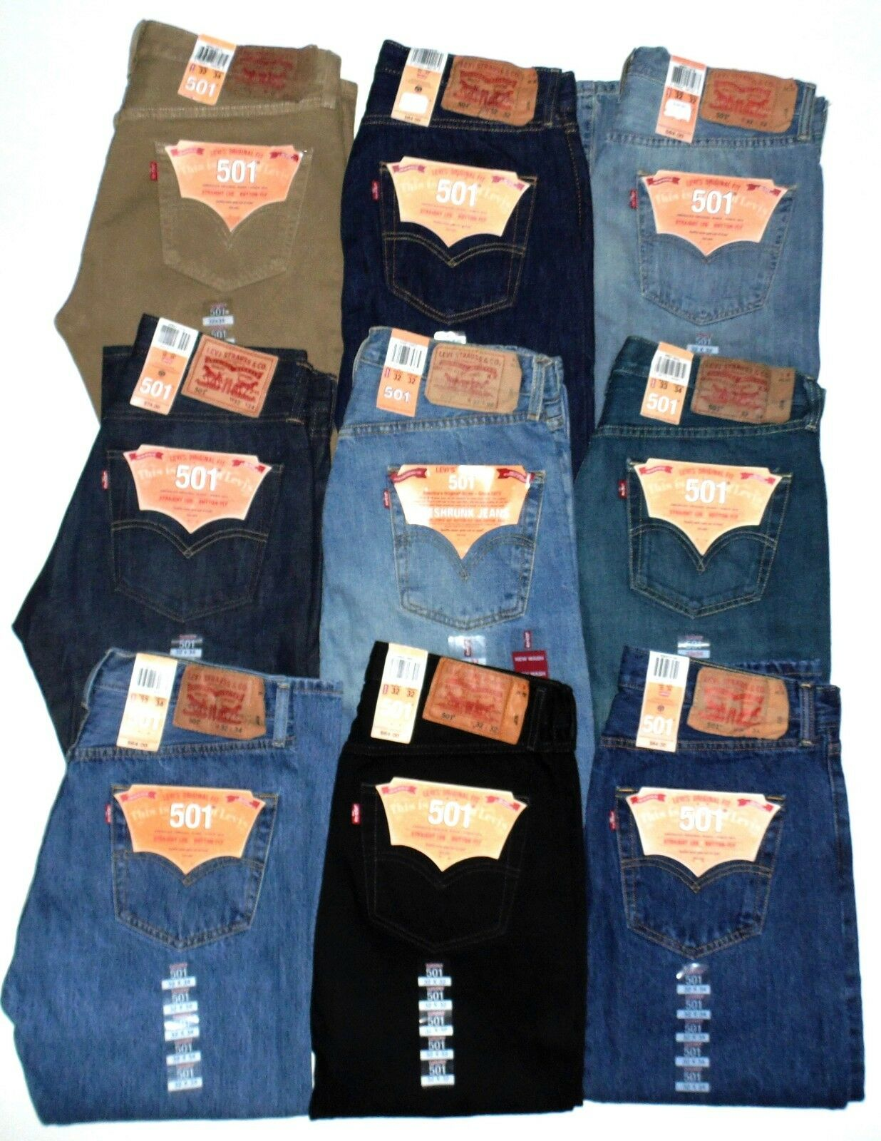 Levis 501 Mens Jeans Button Fly Authentic BIG & TALL Waist 46-60 New With Tags