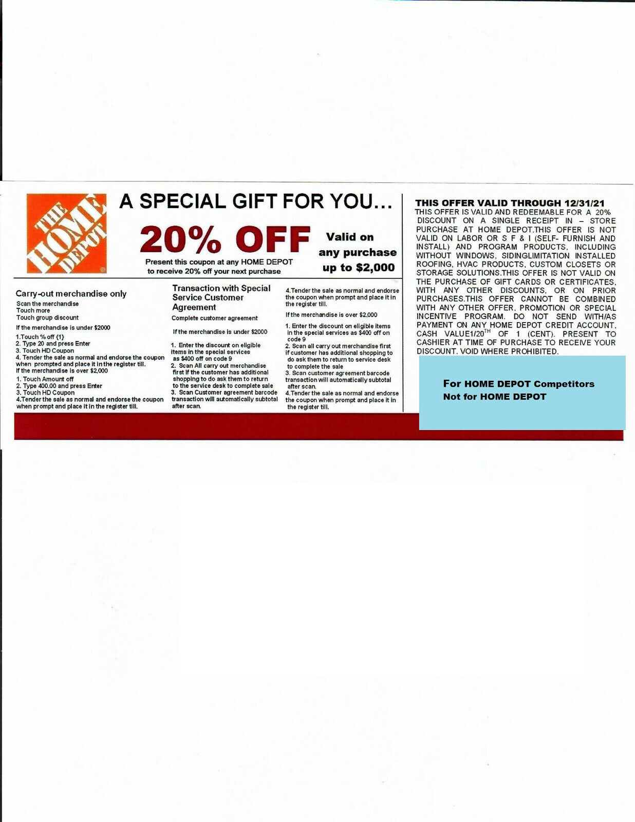 2 20 OFF HOME DEPOT Competitors Coupon Expires 12/31/21  - $10.00