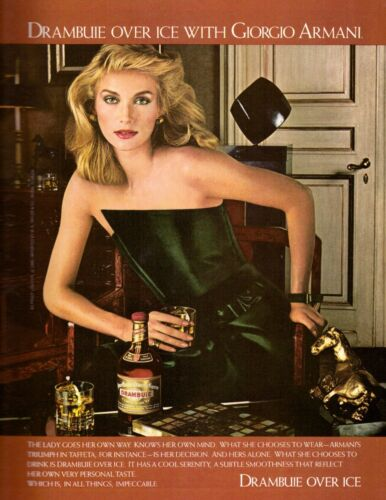 1980 Drambuie Liqueur Scotch Whisky Giorgio Armani Sexy Vintage Print Ad 1980s