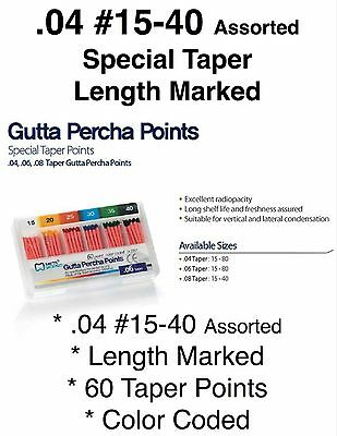 .04 15-40 Special Taper Length Marked Gutta Percha Endodontic Qty 60 Points