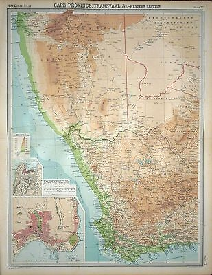 1920 LARGE MAP ~ SOUTH AFRICA CAPE PROVINCE TRANSVAAL WESTERN SECTION 23