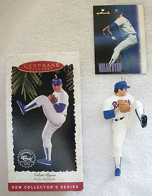 1996 Hallmark Nolan Ryan Texas Rangers Ornament W Card - 1st In The Series