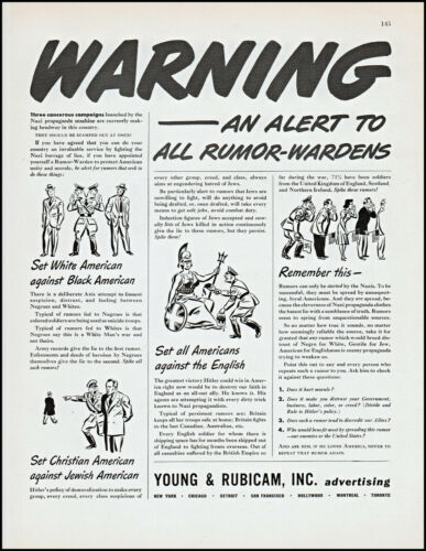 1942 WW2 Rumor-Wardens Alert Young & Rubicam inc Advert vintage art print ad L89
