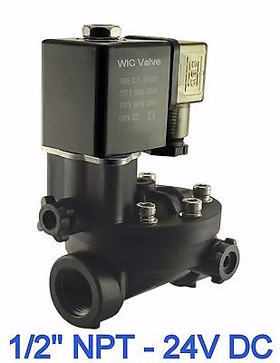 Pa66 Plastic Electric Air Water Solenoid Valve Manual Override 12 Inch 24v Dc