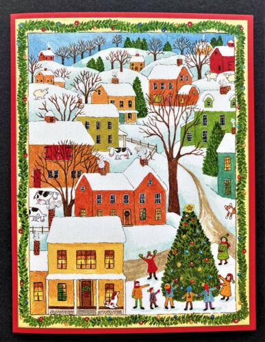 Caspari Folk Art Town Christmas Cards SET Of 4 Dog Cat Cows Sheep Tree Village