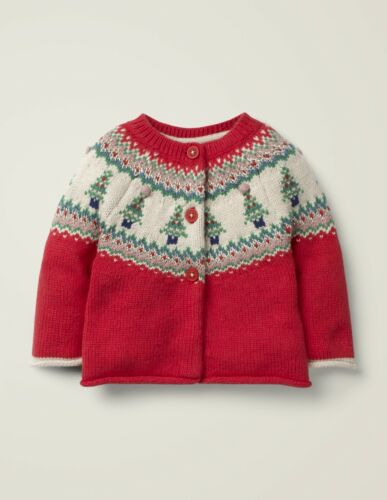 NEW Mini Boden Girls Red Fair Isle Holiday Tree Cardigan Sweater size. 2 3 yrs