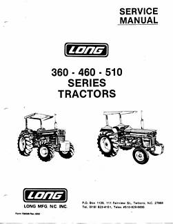 LONG 360 - 460 - 510 Tractors Service Manual PDF CD 210 pages Maclagan Toowoomba Surrounds Preview