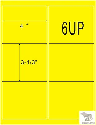 Yellow 600 Shipping Address Amazon Fba 6 Per Sheet 6up 4x3.33 100 Sheets