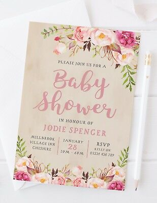 10 Baby Shower Invitations - Personalised - floral rustic vintage boho pretty - Rustic Baby Shower Invitations