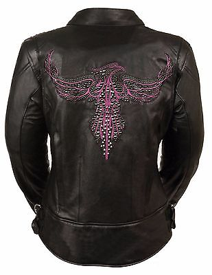 Ladies Black Leather Biker Jacket w Hot Pink Phoenix Embroidery, Studding - Hot Female Bikers