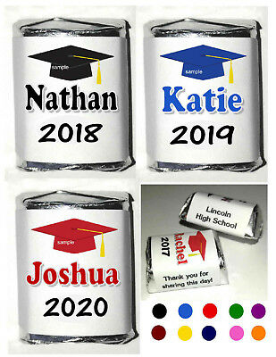120 GRADUATION CANDY WRAPPERS PARTY FAVORS PERSONALIZED ~ MANY COLORS