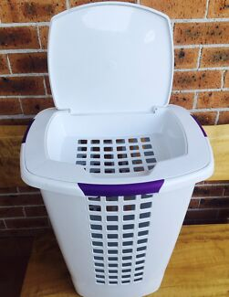 Laundry basket with separate top section for under garments