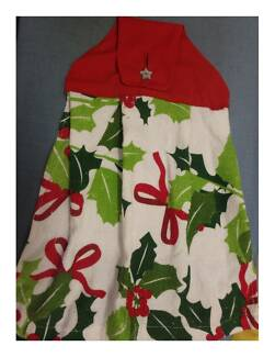Xmas Hanging Hand Towel: NEW Holly Red Ribbon & Star Button Trim