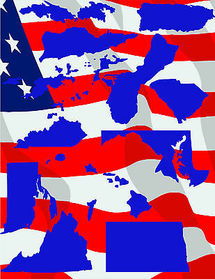 54 US States and Territories Vector Clipart for Vinyl Cutter