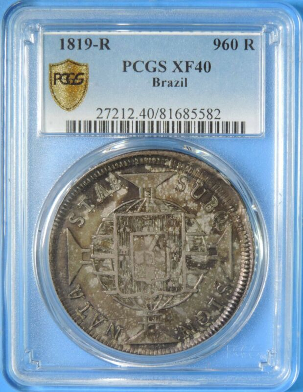 1819 R Brazil 960 Reis Silver Coin Overstruck on 8 Reales PCGS Graded XF40