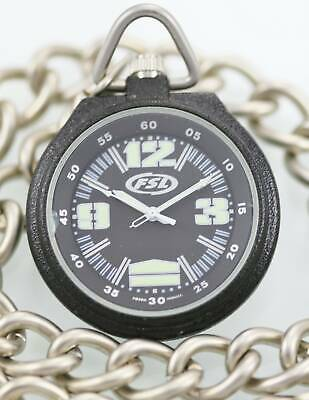 Fossil Watch Men's FSL Pocket Stainless Black Dial Silver Case Chain Fob Quartz for sale  Shipping to India