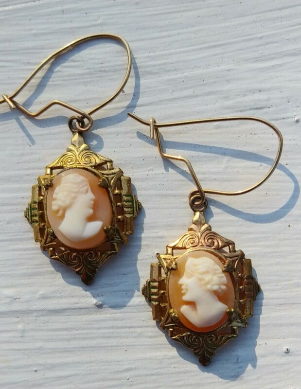 Vtg Gold Filled Earrings Shell Cameo Wires Pierced